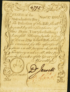 November 17, 1776 36 Shillings Revere face