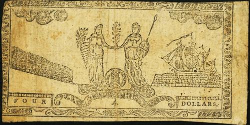 Maryland July 26, 1775 $4 Allegorical Series back