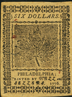 Continental Currency July 22, 1776 $6 back