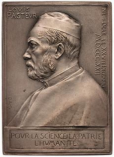 1892 Louis Pasteur silver plaque obverse
