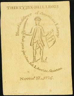 November 17, 1776 36 Shillings Revere back