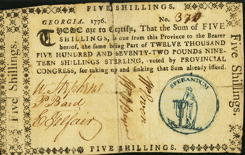 Georgia 1776 Sterling Denominations 5 Shillings face
