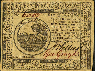Continental Currency July 22, 1776 $6 face