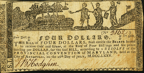 Maryland July 26, 1775 $4 Allegorical Series face
