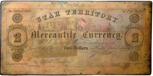 Utah Mercantile Currency $2 plate