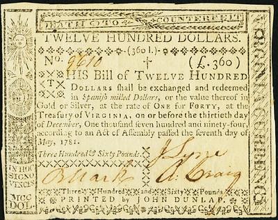 Virginia May 7, 1781 $1200
