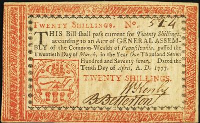 Pennsylvania April 10, 1777 20 Shillings front