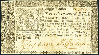 Maryland March 1, 1770 $8 face