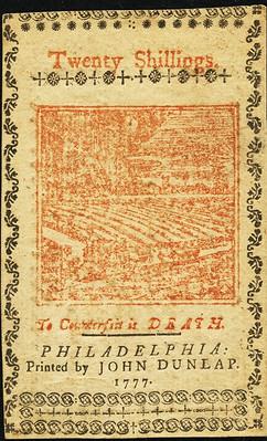 Pennsylvania April 10, 1777 20 Shillings back
