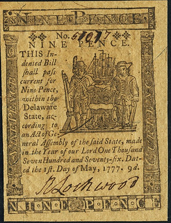 Delaware May 1, 1777 9 Pence face