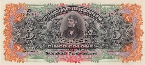 Costa Rica, Banco Anglo-Costarricense 5 Colones