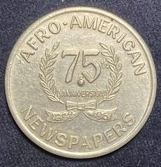 1967 Afro-American Newspapers token reverse