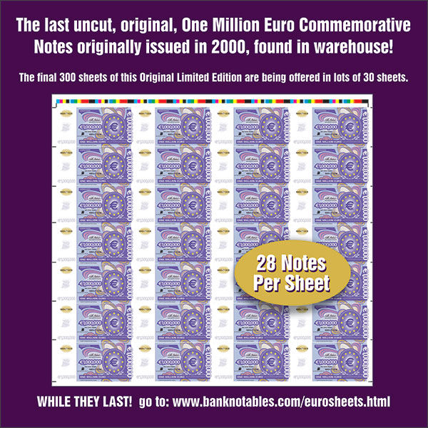 Banknotables E-Sylum ad 2021-02-14 Million Euro Sheet