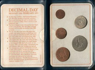 Booklet with the new decimal coins issued by the Royal Mint