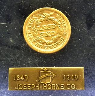 Joseph Horne 1849 cent in Lucite reverse