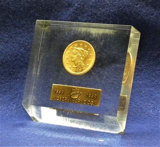 Joseph Horne 1849 cent in Lucite