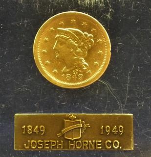 Joseph Horne 1849 cent in Lucite obverse