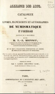 T. E. Mionnet Library Sale catalog