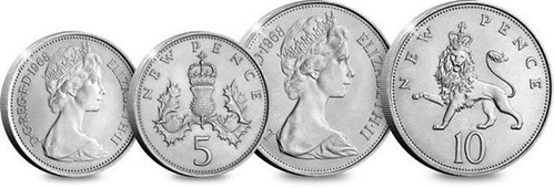 New Pence decimal coinage