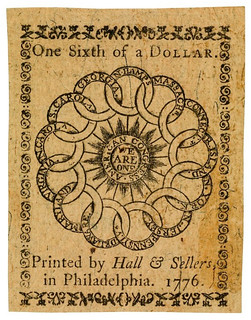 1776 One-sixth dollar Continental Currency