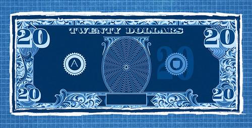 Blank $20 note design