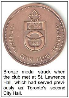 Toronto Central Coin Club medal