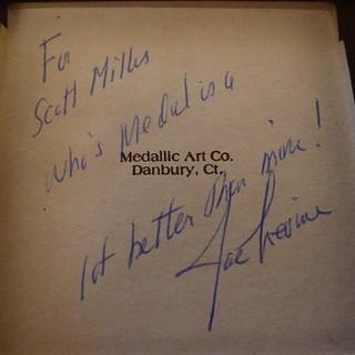 Joe Levine TAMS medal box inscription