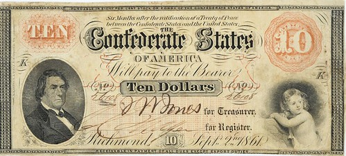 1861 Richmoand Confederate $10 note front