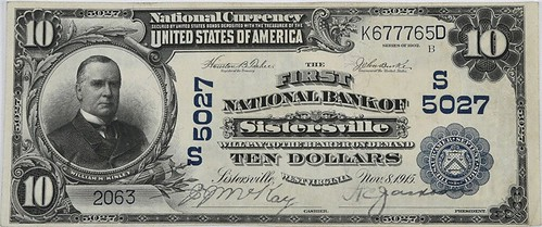 1902 $10 National Bank Note Sistersville, WV