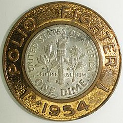 March of Dimes Encased Dime polio_brass_dime250