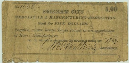 Brigham City Coop Note $5.00
