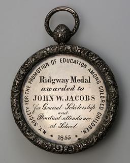 1855 Colored Children Ridgeway medal reverse