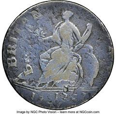 1747 Georgivs II, Machin's Mills Halfpenny reverse
