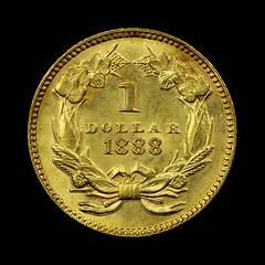 1888 $1 gold piece reverse