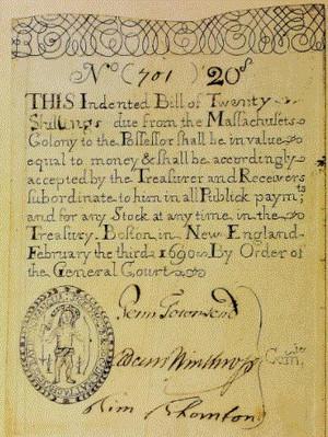 1690 Massachusetts 20 shillings note