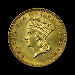 1888 $1 gold piece obverse