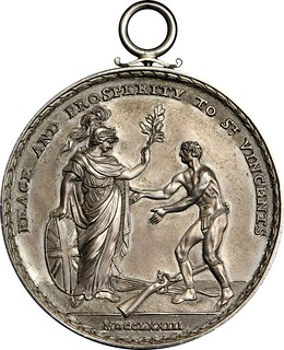 1773 Carib War Medal reverse