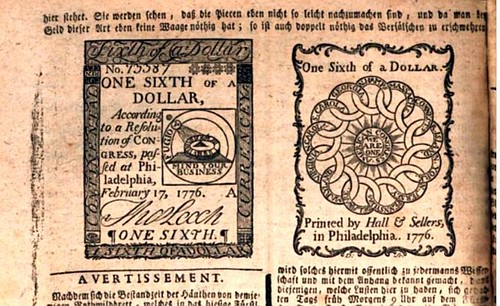 1777 German illustration of One-Sixth Dollar colonial note