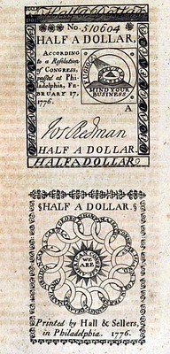 1777 German illustration of Half Dollar colonial note