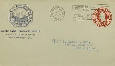 Pacific Coast Numismatic Society correspondence to Adolf Larson, Jr.