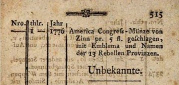 1785 German Continental Dollar offering