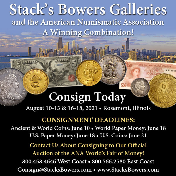 Stacks-Bowers E-Sylum ad 2021-03-28 consign