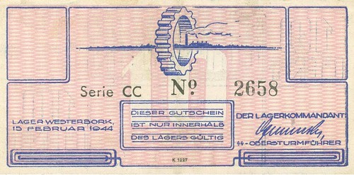 Westerbork voucher for 10 cents face
