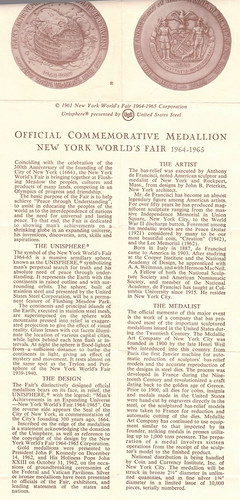 1964 NYWF medal info pamphlet
