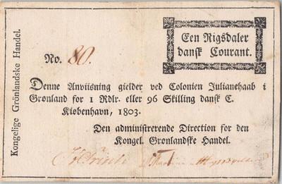 1803 Greenland 1 Rigsdaler