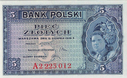 Poland WWII Government-in-Exile 5 Zlotych