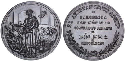 Barcelona. Cholera Epidemic bronze Award Medal