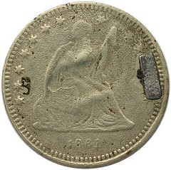 Counterfeit Liberty Seated Love Token letter S obverse