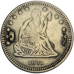 Counterfeit Liberty Seated Love Token letter P obverse