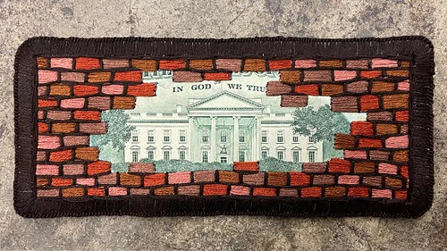 Embroidered banknote $10 bricked White House